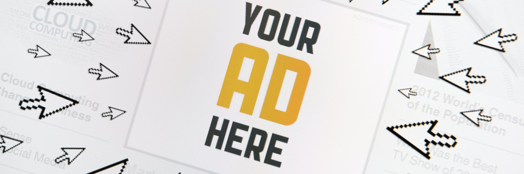 "Success internet banner with text ""YOUR AD HERE"" and lot of clicking pointers around. Conceptual image."